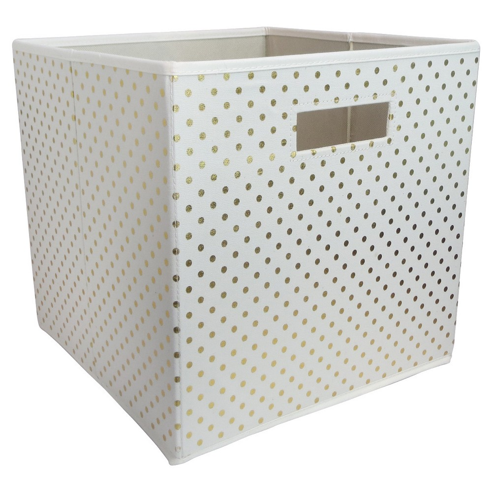 Fabric Cube Toy Storage Bin Gold Dots - Pillowfort, White/Gold The Fabric Cube Storage Bin (13 x13 ) Mint and Cream from Pillowfort offers a stylish storage solution for clothing or small toys. It's perfect for a kids' room, home office, laundry room or craft room. Mix and match colors and prints for a creative look. Color: White/Gold. Pattern: Polka Dots.
