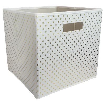Fabric Cube Toy Storage Bin Gold Dots   Pillowfort™