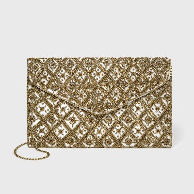 Estee & Lilly Snap Closure Beaded Envelope Clutch - Ivory/Gold