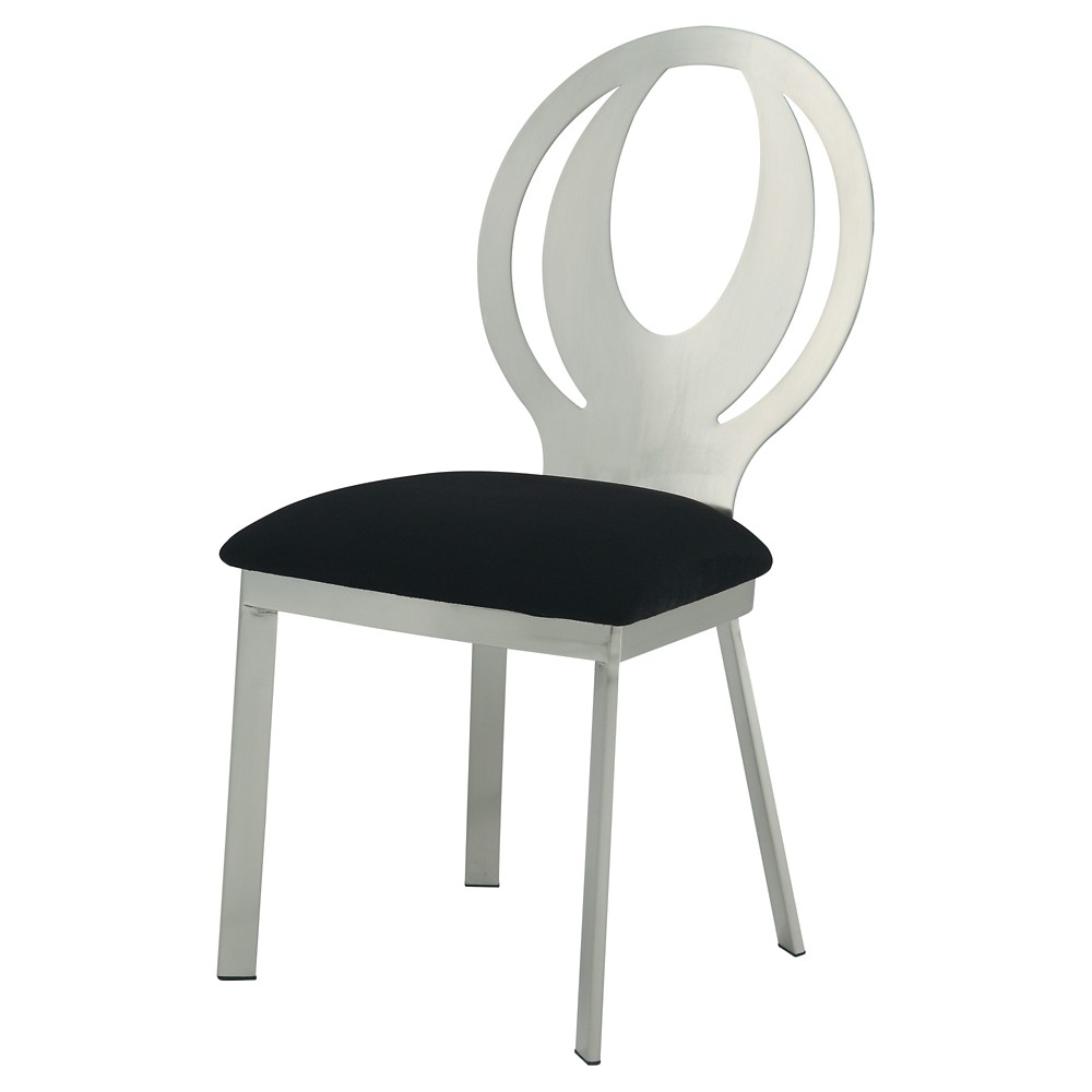 ioHomes Jayla Unique Chrome Oval Back Side Dining Chair - Satin Plated (Set of 2)