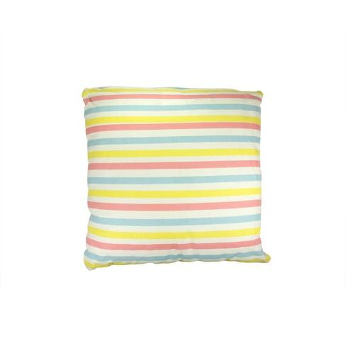 "Kaemingk 15.75"" Square Striped Indoor Throw Pillow - Blue/Yellow - image 1 of 1"