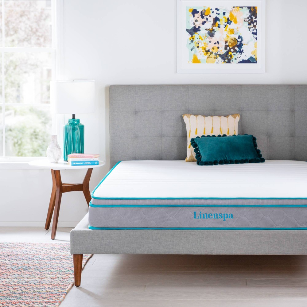 "Image of ""California King 8"""" Spring & Memory Foam Hybrid Mattress - Linenspa, White"""