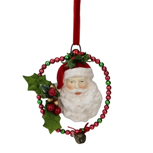 """Ganz 4"""" Elegant Santa Claus in a Beaded Wreath Christmas Ornament - White/Red - image 1 of 3"""