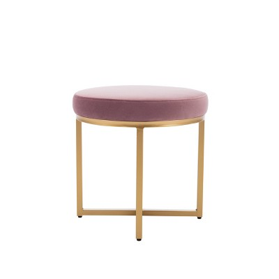 """18"""" Round Ottoman with Metal Base - WOVENBYRD"""
