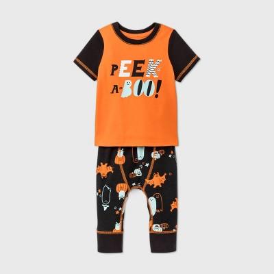 Baby Boys' Peek-a-Boo Short Sleeve Top & Bottom Set - Cat & Jack™ Orange 12M
