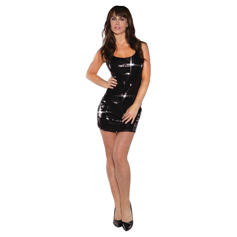 Women's Sequin Dress Short Costume - Small, Black
