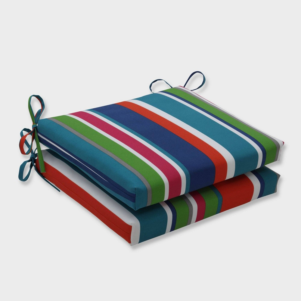 2pk St Lucia Stripe Squared Corners Outdoor Seat Cushions Blue Pillow Perfect