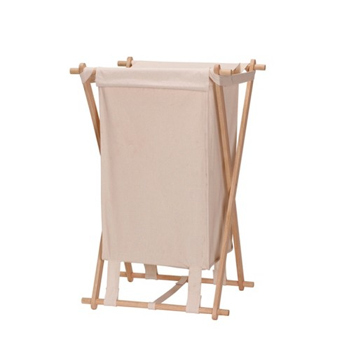 Household Essentials Wood X-Frame Laundry Hamper - image 1 of 3