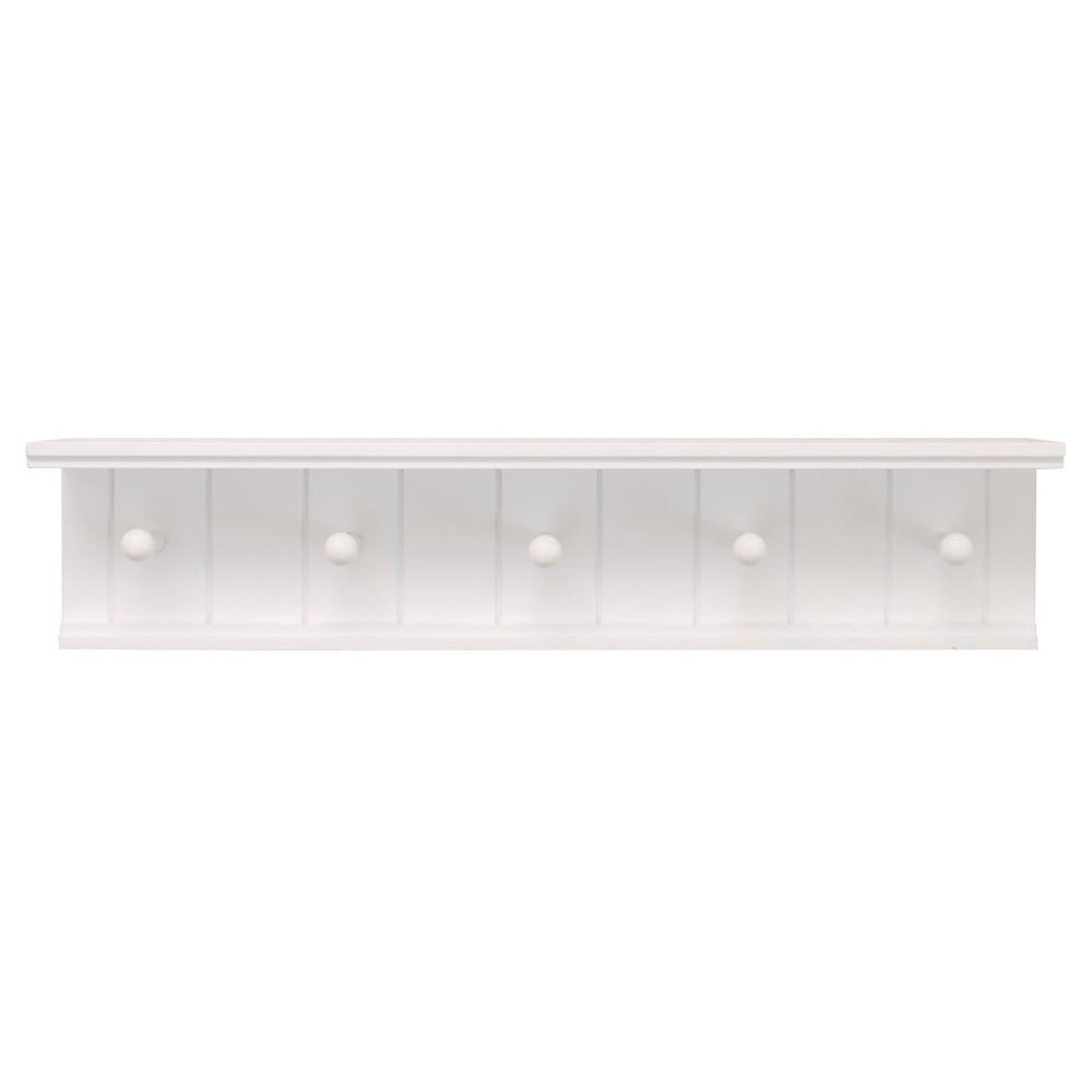 Image of Kian Wall Shelf with Pegs - White