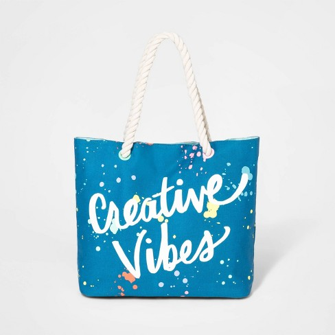 Girls' 'Creative Vibes' Double Handle Tote Bag - Cat & Jack™ Blue - image 1 of 1