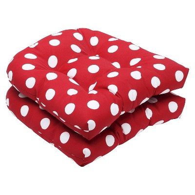 Outdoor 2-Piece Wicker Chair Cushion Set - Red/White Polka Dot