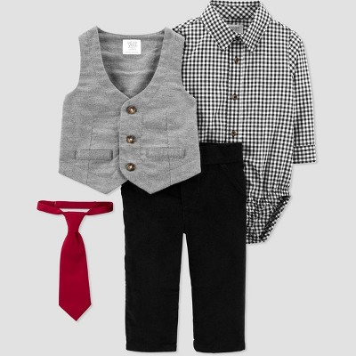 Baby Boys' Plaid Vest Top & Bottom Set with Tie - Just One You® made by carter's Gray/Black 3M