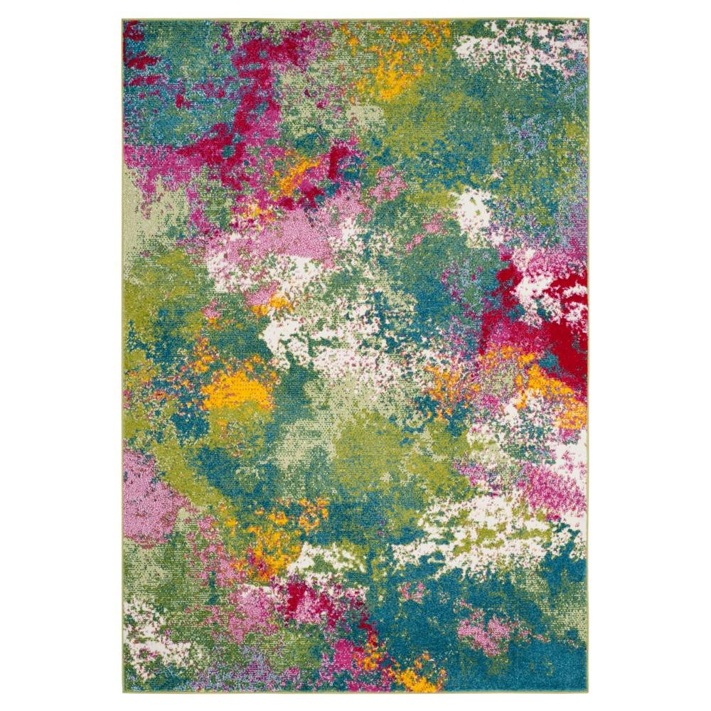 Green/Fuchsia (Green/Pink) Splatter Loomed Area Rug 5'3