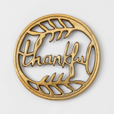 Metal Thankful Trivet Gold - Threshold™