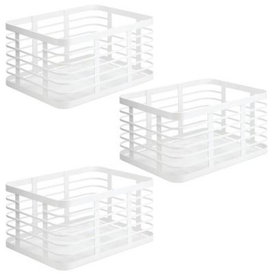 mDesign Metal Wire Food Organizer Storage Bin, 3 Pack