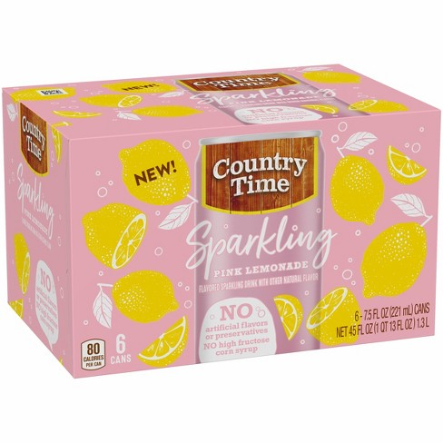 Country Time Sparkling Pink Lemonade - 6pk/7.5 fl oz Cans - image 1 of 3