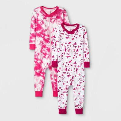 Toddler Girls' 2pk Birds 100% Cotton Pajama Jumpsuit - Cat & Jack™ Pink
