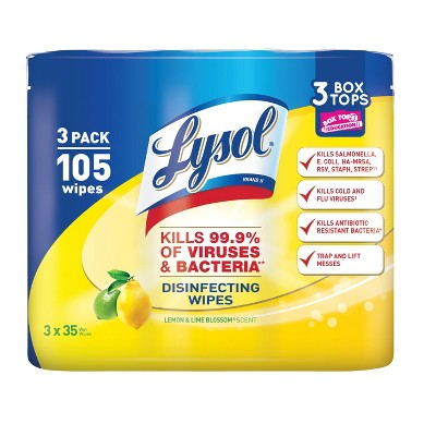 Lysol Lemon and Lime Blossom Scented Wet Wipes - 105ct