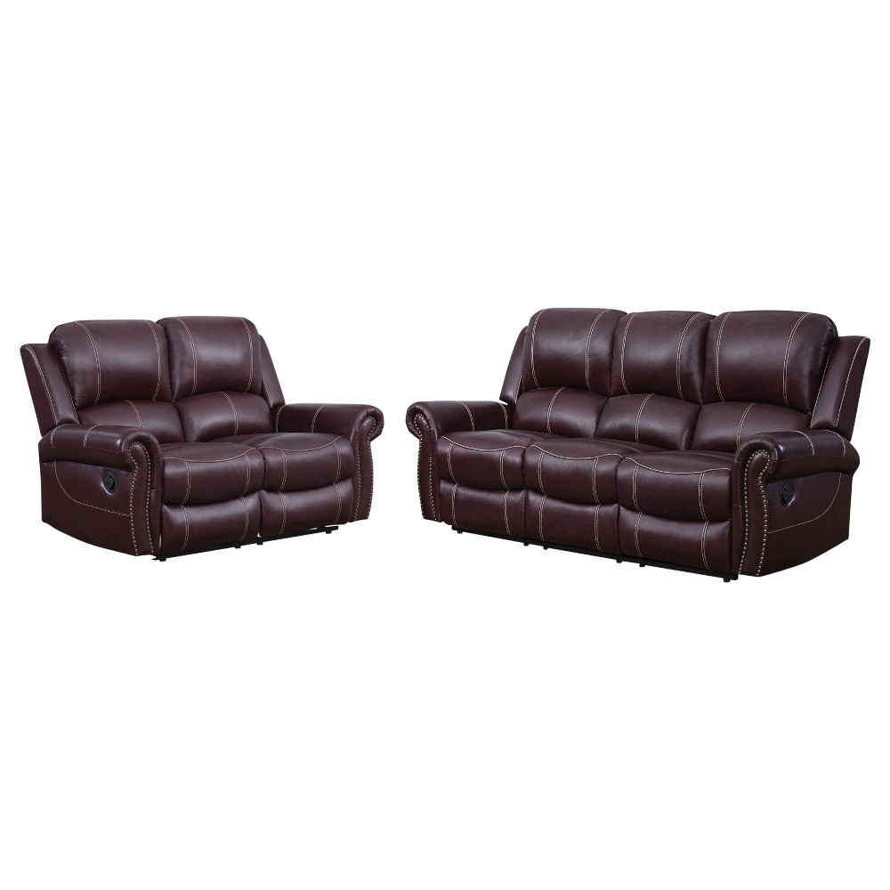 Image of 2pc Lorenzo Leather Reclining Sofa & Loveseat Burgundy (Red) - Abbyson Living