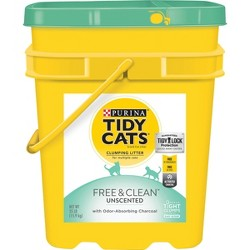 Purina Tidy Cats Clumping Cat Litter, Free & Clean Unscented Multi Cat Litter - 35lb Pail