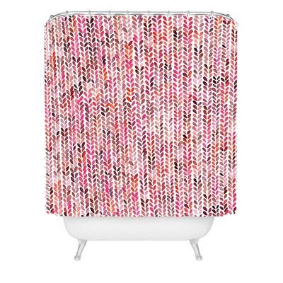 Ninola Design Knitting Texture Christmas Shower Curtain Red - Deny Designs