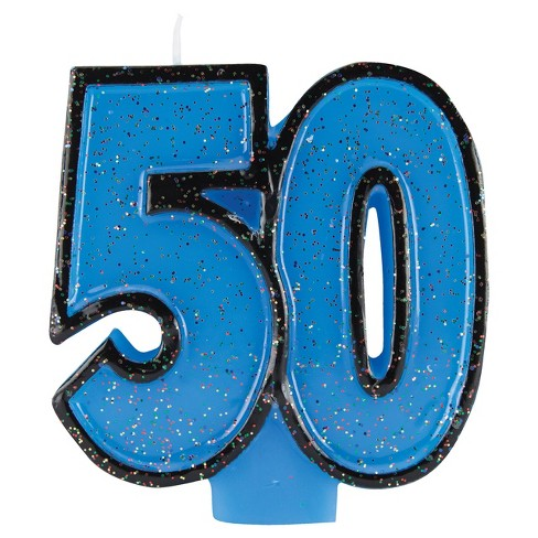 50th Birthday Glitter Candle Target