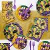 16ct Masks Of Mardi Gras Disposable Napkins Gold - image 2 of 2