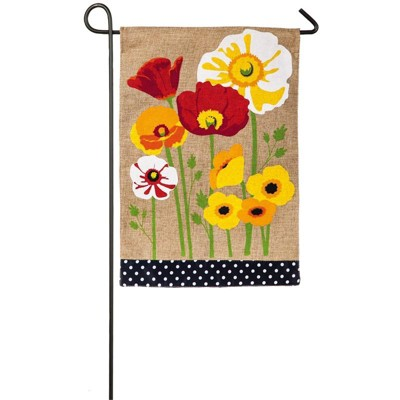 Evergreen Painted Poppies Burlap Garden Flag, 12.5 x 18 inches