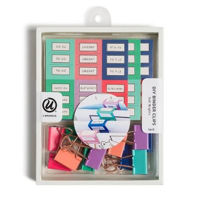 U Brands 15ct DIY Binder Clips with Labels - Soft Brights
