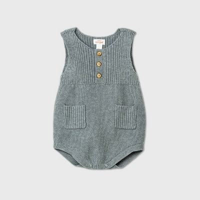 Baby Boys' Henley Sweater Romper - Cat & Jack™ Heather Gray 0-3M