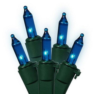 Vickerman 35-Count Teal Blue Mini Christmas Light Set, 11.25ft Green Wire