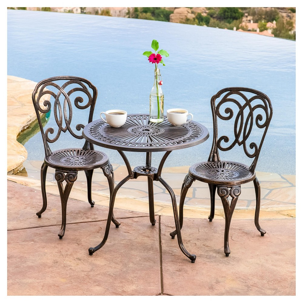 Cornwall 3pc Cast Aluminum Patio Bistro Set - Shiny Copper - Christopher Knight Home, Brown