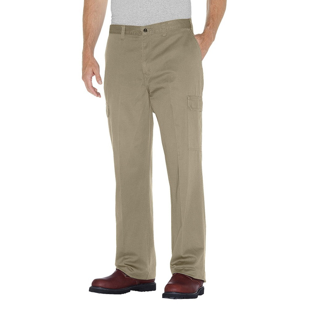 Dickies Men's Big & Tall Loose Straight Fit Cotton Cargo Work Pants- Khaki (Green) 44x32