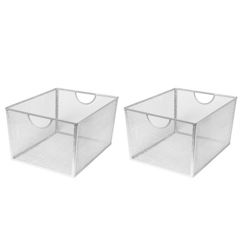XL Wire Utility Storage Basket Silver Set of 2 - Seville Classics - image 1 of 3
