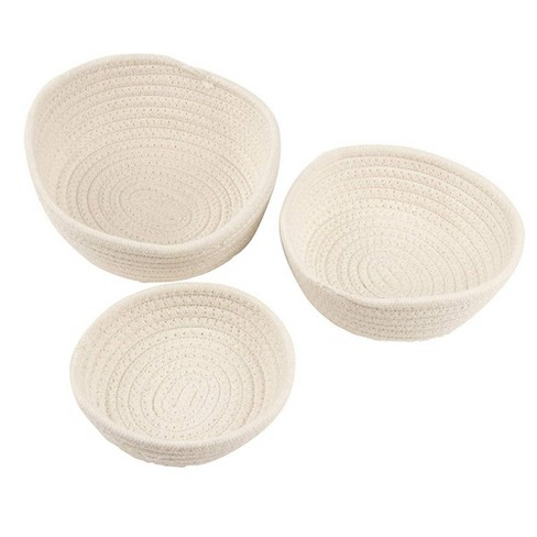 Juvale 3-Pack Round Cotton Rope Woven Storage Basket Bins Hampers for Toy, Blanket - 3 Sizes, White - image 1 of 4