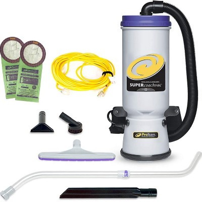 ProTeam 107119 CoachVac 10 Quart Multifunctional Backpack Vacuum with Telescoping Wand Tool Kit, Various Attachments, and 50 Foot Extension Cord