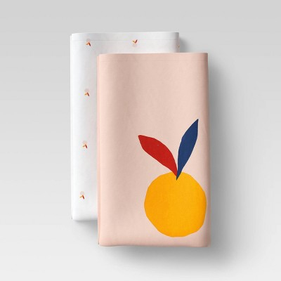 2pk Cotton Fruit and Leaves Kitchen Towel Set Pink - Room Essentials™