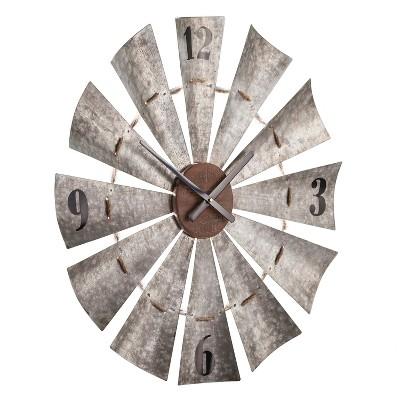 Aiden Lane 28.5 x28.5  Brennan Oversized Windmill Decorative Wall Clock Gray