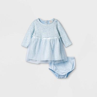 Baby Girls' Knit Elevated Long Sleeve Tutu Dress - Cat & Jack™ Blue