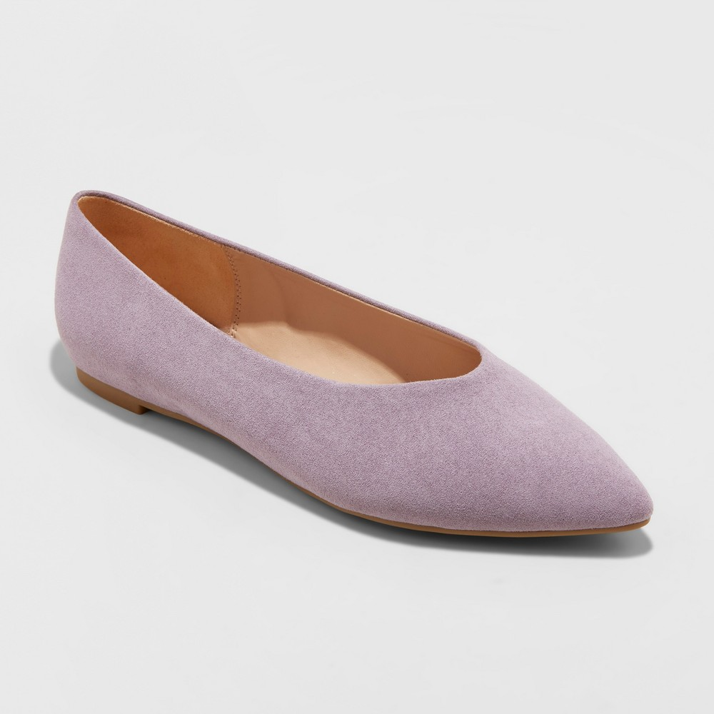 Women's Camille Microsuede High Vamp Pointed Toe Ballet Flats - A New Day Lavender (Purple) 9