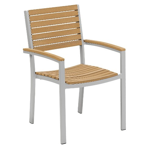 Travira 4pc Armchairs Powder Coated Aluminum Frame Natural Teakwood - Oxford Garden® - image 1 of 4