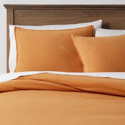 3pc Full/Queen Space Dyed Cotton Linen Duvet & Sham Set Mustard - Threshold™