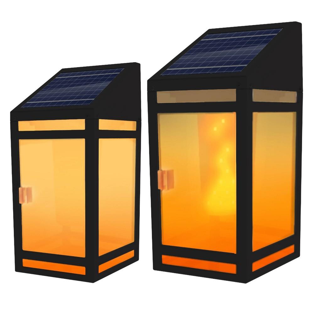 Image of Solar LED Outdoor Wall Lanterns Black - Techko