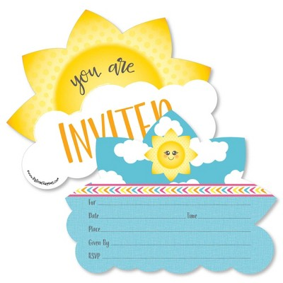 Big Dot of Happiness You are My Sunshine - Shaped Fill-in Invitations - Baby Shower or Birthday Party Invitation Cards with Envelopes - Set of 12