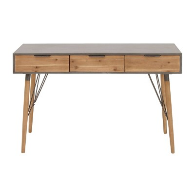 Modern Console Table with Drawers Brown - Olivia & May