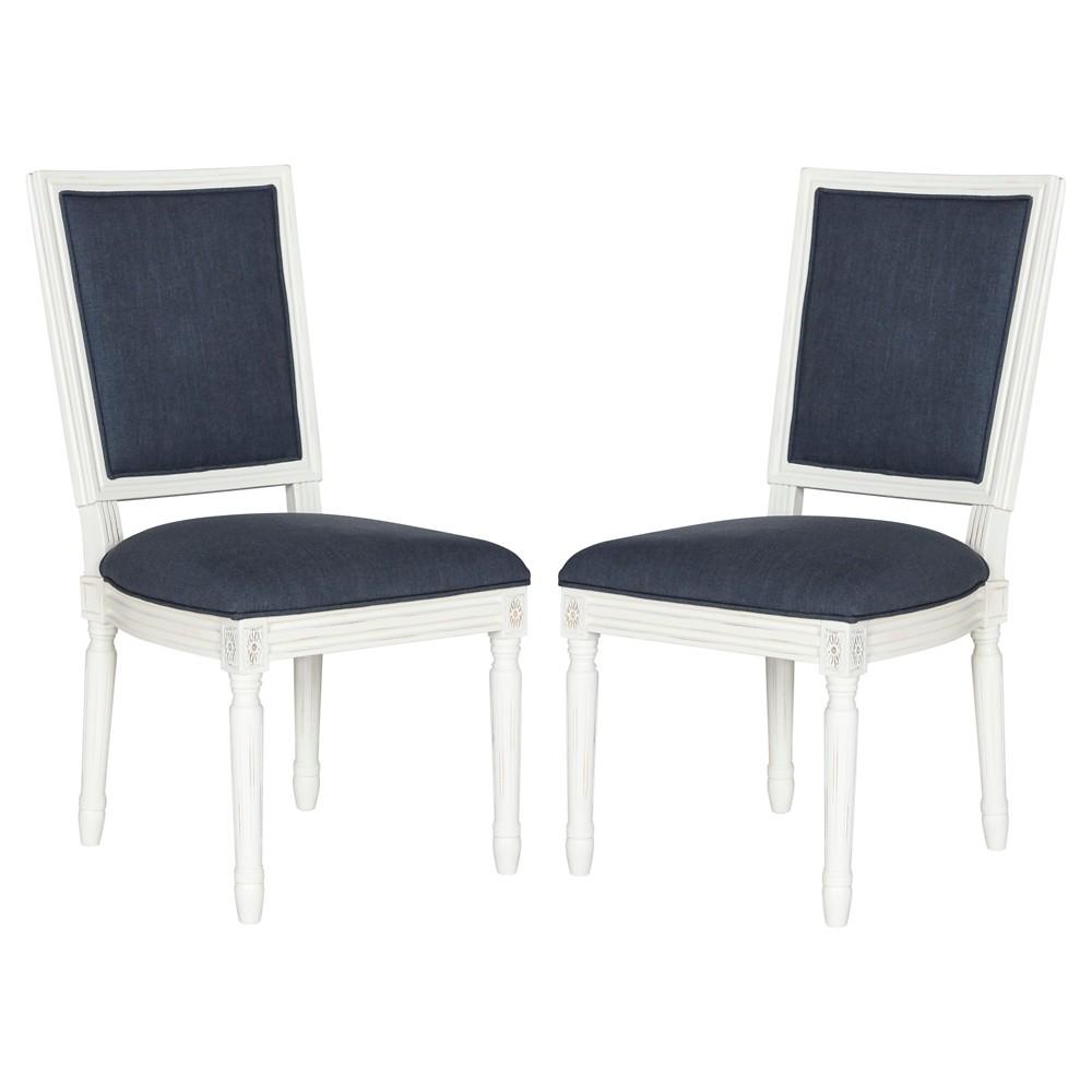 Buchanan Rectangle Side Chair Wood/Navy (Blue) (Set of 2) - Safavieh