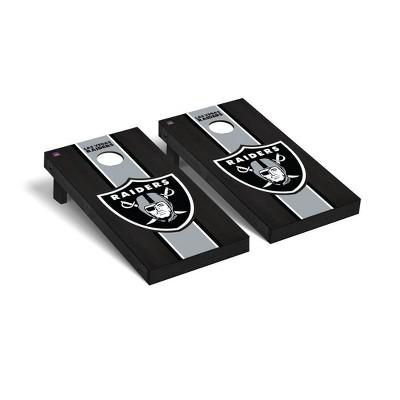 NFL Las Vegas Raiders 2'x4' Premium Cornhole Board Onyx Stained Stripe Version