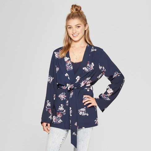 584b2a94763c Women s Long Sleeve Belted Floral Kimono Jacket - Xhilaration™ Navy ...