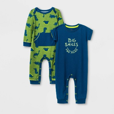 Baby Boys' Dino 2pk Romper Set - Cat & Jack™ Blue 6-9M