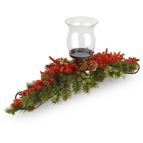 """Vine 1 Candle Holder with Glass Cup with Red Berries and Cones 30"""" - National Tree Company - image 1 of 1"""